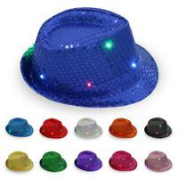 Dance Party Light Up Flashing Jazz Hat Led Fedora Trilby Sequin  Panama Cap