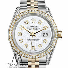 Ladies Rolex SS & Gold 31mm Datejust White Jubilee Diamond Accent Dial Watch