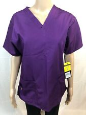 Women's WonderWink Origins 6016A V-Neck Scrub Top - Size Medium Color~Grape