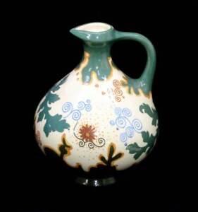 Antique ARNHEM HOLLAND Pensee art nouveau 1915 stunning floral jug vase