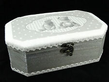 Large Wooden Jewellery Trinket Box Home Decoration Shabby Chic Grey color Bears