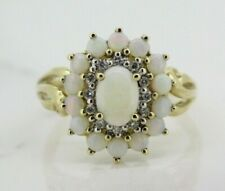 9ct Yellow Gold Opal and Diamond Cluster Ring (Size N)