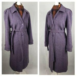 Ladies Vintage Tweed Coat Size 16-18 Pure New Wool Purple Belted Winter Overcoat