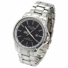 Mens Stainless Steel Metal Band Black Dial Day and Date Quartz  Wrist Watches