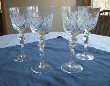 Set of 4 Vintage Hand Cut Crystal Red Wine Glasses 24% Lead New Never Used