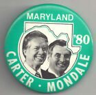"""CARTER & MONDALE Maryland Pin 1980 ~ 3"""" Campaign Political Pinback"""