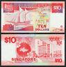 SINGAPORE 10 Dollars 1988 P-20 Ship Series UNC Uncirculated