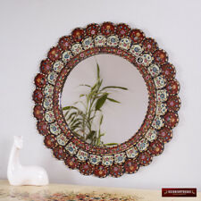 "Decorative Cuzcaja Round wall Mirror 23.6"" - Peruvian Red mirror for wall decor"