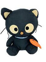 Vintage 1998 Sanrio Chococat Cat Black Nylon Plush Soft Stuffed Animal Toy Fish