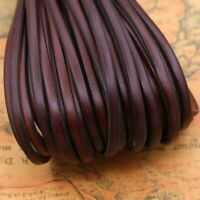 Genuine Real Leather Flat Cord Strap Rope String Bracelet DIY Crafts 5M Long
