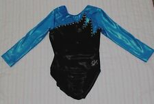 GK Elite CM blue black crystal Girls Competition gymnastics leotard 3/4 sleeve