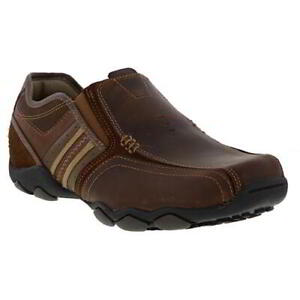 Skechers Diameter Zinroy Mens Brown Comfortable Leather Slip On Shoes Size 7-13