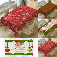 New Christmas Tablecloth Print Rectangle Table Cover Holiday Party Home Decor
