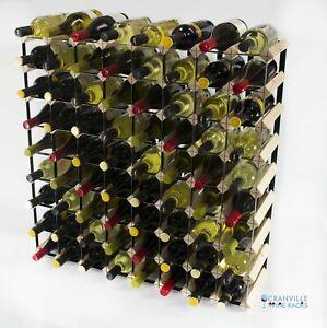 Cranville wine rack storage 72 bottle pine wood and black metal assembled