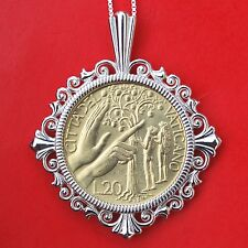 1988 Vatican 20 Lire BU Coin Sterling Silver Necklace Temptation of Adam and Eve