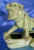 "Vtg Large Mid Century 1950's Retro Pottery Ceramic Jeweled Eyes Yellow Tiger 14"""