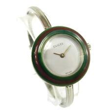Authentic GUCCI Vintage Change Bezel Quartz Wristwatch Bangle Silver AK18963