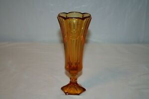 "Amber Coin Glass 8 1/2"" Bud Vase"