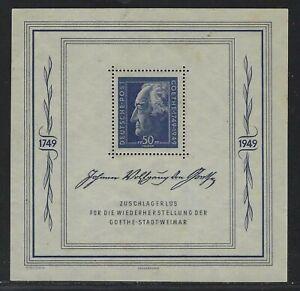 1949 GDR Russian Zone Scott #10NB11 - Goethe Semi-postal Souvenir Sheet - MH