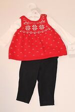 Carters Infant Baby Girl 3 Months Red Fair Isle Sweater Top & Black Pants Outfit