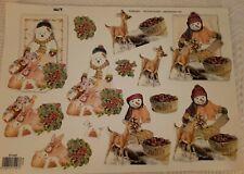 6 Sheets Snowman Deer Christmas Scene Paper Tole Decoupage Cut Out TBZ Rotterdam