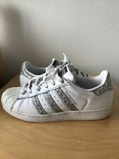 Adidas Superstar Trainers. White & Silver Glitter Stripes. Size UK 6. SPARKLY!