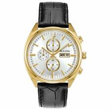 Bulova 97C108 Gold Tone White Dial Black Leather Band Classic Mens Watch