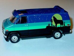 1981 81 GMC VANDURA CHEVY SURFER VAN COLLECTIBLE DIECAST -Blue/Black, 1/64