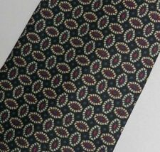 "Black Green Red Foulard Silk Tie 3.7"" Wide 62"" Extra Long"