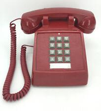 Cortelco Red Push Button Corded Desk Telephone Phone Vintage Retro Style (Aj)