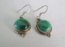 Vintage 925 Sterling Silver earrings, set with Malachite  stone