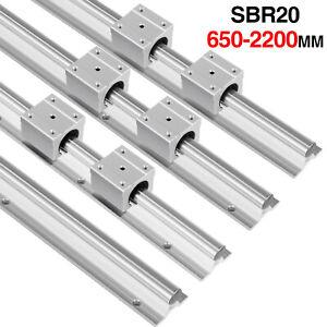 2X SBR20 650mm-2200mm Linear Linearführung Welle + 4X SBR20UU Lagerblock Block