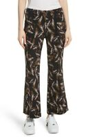Women's A.l.c. Felix Print Silk Crop Flare Pants, Size 2 - Black 153327