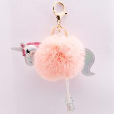 1PC Soft Faux Fluffy Fur Pompom Ball Key Chains Unicorn Multi-color Women Gifts