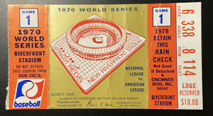 1970 WORLD SERIES Ticket Stub Game 1 ORIOLES/Reds Brooks Robinson GW HR/Palmer W