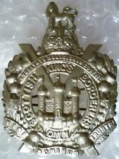 Badge- WW1 Kings Own Scottish Borderers Cap Badge KC (WM, ORG*) 2 LUGS