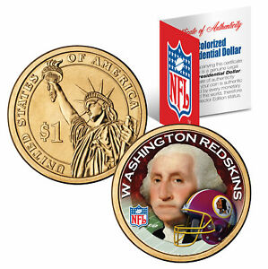 WASHINGTON REDSKINS Colorized Presidential $1 Dollar Coin Football NFL LICENSED