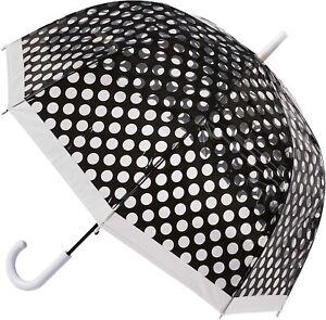 "SOAKE Umbrella Black Polka Dot Auto Open Clear Dome Quality 32"" Rain See Through"