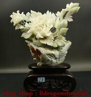 "14.8 ""Chine naturel Xiu Jade Jadéite sculpté pivoine fleur papillon Statue"