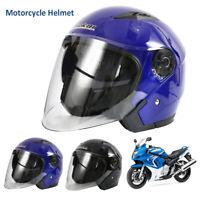 Casque Demi Modulable Universel Scooter Moto Casque Double Pare-Soleil Noir Bleu