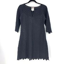 Yoana Baraschi Womens Sz 6 Lace Overlay A-Line Dress 3/4 Sleeve Black Scalloped