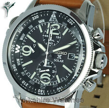 New SEIKO PROSPEX SOLAR CHRONO ALARM BLACK DIAL Tan Leather Strap SSC081P1
