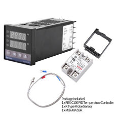 REX-C100 Digital PID Temperature Controller Regulator K Thermocouple 40A SSR xi