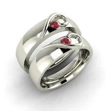 0.25Ct Single Ruby Gemstone White Silver Wedding Anniversary Couple Ring Set