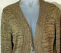 Chicos size 3 womens tie front cardigan sweater metallic gold brown long sleeve