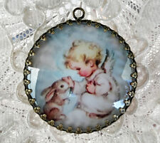 BABY ANGEL AND BUNNY ~ XL ROUND 35mm PENDANT Filigree VINTAGE CHRISTMAS CARD ART