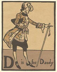 William Nicholson Woodcut Print 1898 D is for DANDY Alphabet Lithograph 1975