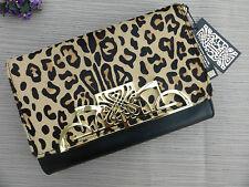 BNWT BIBA Leopard Ponyskin Black Leather Ruby Clutch Bag RRP £115 SALE