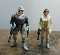 Hasbro Star Wars 1990'S POTF2 Hoth Princess Leia & Han Solo Lot Both Complete