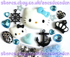 3D DIY Cell Phone Case blue  Kawaii Hello Kitty anchor cabochon Deco Den Kit